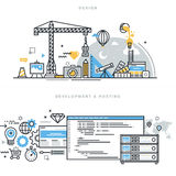 Plan linje designbegrepp för grafisk design, websiteutveckling och att vara värd royaltyfri illustrationer