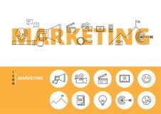 Plan linje designord MARKNADSFÖRING med symboler och beståndsdelar chart den genomskinliga skärmen för marknadsföringen för hande stock illustrationer