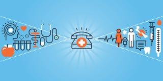 Plan linje designwebsitebaner av sjukvård-, klinik- och sjukhuslättheter vektor illustrationer