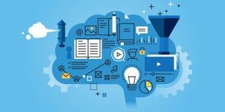 Plan linje designwebsitebaner av utbildning stock illustrationer