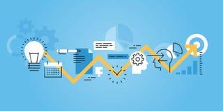 Plan linje designwebsitebaner av utvecklingsprocessen, från idé till förverkligande royaltyfri illustrationer