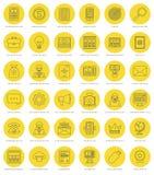 Plan linje enkel symbolsuppsättning Tunn linjär slaglängd stock illustrationer