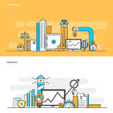Plan linje färgbegreppsinvestering och analys stock illustrationer
