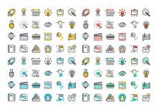 Plan linje färgrik symbolssamling av den idérika processen Royaltyfria Foton