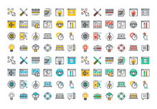 Plan linje färgrik symbolssamling av rengöringsdukdesignen och utveckling