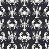 Plan linje för modellhav för vektor sömlös hummer och krabba för faunor Förenklad retro stil cancer omar Havs- läckerhet stock illustrationer
