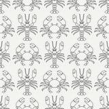Plan linje för modellhav för vektor sömlös hummer och krabba för faunor Förenklad retro stil cancer omar Havs- läckerhet royaltyfri illustrationer