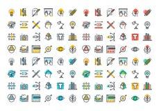 Plan linje färgrik symbolssamling av diagrammet och rengöringsdukdesignen Fotografering för Bildbyråer