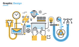 Plan linje illustration av processen för grafisk design
