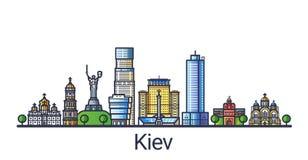 Plan linje Kiev baner stock illustrationer