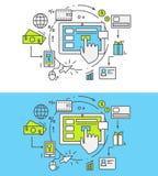 Plan linje lön per klick vektor illustrationer