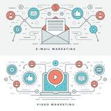 Plan linje mejl och illustration för vektor för videomarknadsföringsbegrepp Moderna tunna linjära slaglängdvektorsymboler Royaltyfri Fotografi