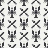 Plan linje sömlös modellhummer för vektor, bestick, gaffel, kniv Förenklat retro Tecknad filmstil cancer omar Skaldjur stock illustrationer