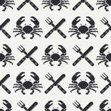 Plan linje sömlös modellkrabba för vektor, bestick, gaffel, kniv Förenklat retro Tecknad filmstil cancer omar Skaldjur stock illustrationer