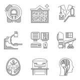 Plan linje symboler för CT-bildläsning MRI Royaltyfri Bild