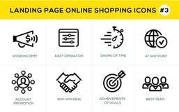 Plan linje symboler för designbegrepp för online-shopping, websitebaner och landningsida Arkivbild