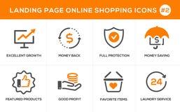 Plan linje symboler för designbegrepp för online-shopping, websitebaner och landningsida Royaltyfria Bilder