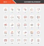 Plan linje symboler för kundförhållandeledning royaltyfri illustrationer