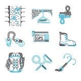 Plan linje symboler för rappeling utrustning Arkivbilder