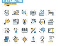 Plan linje symbolsuppsättning av e-att lära Arkivfoto