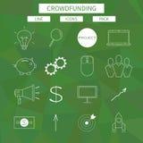 Plan linje symbolsuppsättning av folkmassafinansieringservice stock illustrationer