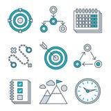 Plan linje symbolsuppsättning av konkurrensfördel stock illustrationer