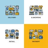 Plan linje symbolsuppsättning av leveransen, e-shopping, detaljhandel, betalning vektor illustrationer