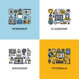 Plan linje symbolsuppsättning av seminariet som e-lär, utbildning som är orubblig Arkivbilder