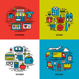 Plan linje symbolsuppsättning av shopping, gods, betalning, leverans Royaltyfri Fotografi