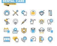 Plan linje symbolsuppsättning av tandvårdtemat Royaltyfri Foto