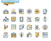 Plan linje symbolsuppsättning av utbildningsprocessen Arkivfoton