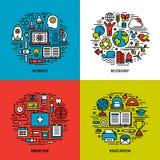 Plan linje symbolsuppsättning av vetenskap, ekologi, medicin, utbildning vektor illustrationer