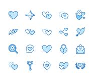 Plan linje symbolsuppsättning för hjärta Förälskelse som daterar platsvektorillustrationer två hjärtor, formar, det romantiska da vektor illustrationer