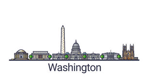 Plan linje Washington baner royaltyfri illustrationer