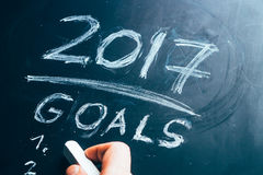 Plan a list of goals for 2017 hand written on blackboard Royalty Free Stock Photos
