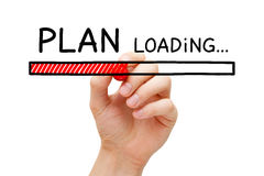 Plan Loading Bar Concept. Hand drawing Plan loading bar concept with marker on transparent wipe board Stock Photo
