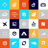 Plan logomall för vektor för logistik- och leveransföretag royaltyfri illustrationer