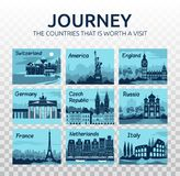 Plan loppillustration med olika gränsmärken på genomskinlig bakgrund Olika länder av världen stock illustrationer