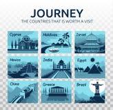 Plan loppillustration med olika gränsmärken på genomskinlig bakgrund resa Länder som är det värda besöket vektor illustrationer