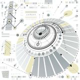 Plan mécanique circulaire abstrait dimensionnel, technologica 3d illustration stock