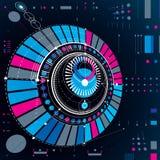 Plan mécanique circulaire abstrait dimensionnel, technologica 3d illustration libre de droits