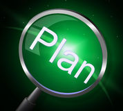 Plan Magnifier Means Proposal Magnification And Planning Stock Photo