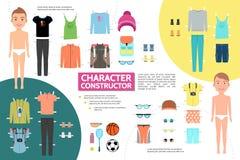 Plan manlig idrottsman nen Character Infographic Concept Royaltyfri Foto