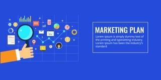 Plan marketing, planification des affaires, homme d'affaires avec un concept de loupe, illustration plate de vente de conception Photo libre de droits