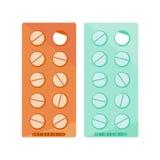 Plan medicinsk preventivpillersymbol Stock Illustrationer