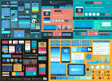 Plan mega samling för UI: Symboler: rengöringsduk och teknologi Arkivbild