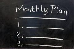 Plan mensual Fotos de archivo libres de regalías