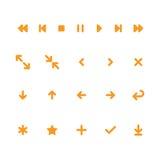 Plan mobil spelarestyrning och symboler för pilrengöringsdukapp Arkivbilder