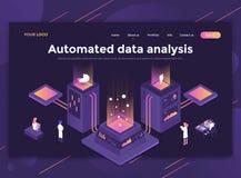 Plan modern design av websitemallen - automatiserad dataanalys royaltyfri illustrationer