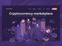 Plan modern design av websitemallen - Cryptocurrency marketpl vektor illustrationer
